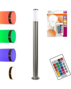 Lampa Ogrodowa LED Słupek E27 Wysoka 100 cm + żarówka LED 9W OSRAM RGB