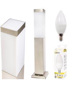 Lampa Ogrodowa LED Słupek Kwadratowy INOX 45cm + LED 10W 3000K + Przejściówka