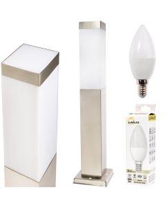 Lampa Ogrodowa LED Słupek Kwadratowy INOX 45cm + LED 10W 4000K + Przejściówka