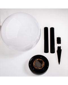 Lampa ogrodowa LED solarna biało-czarna KULA 25cm wbijana 6500K zimna VOLTENO