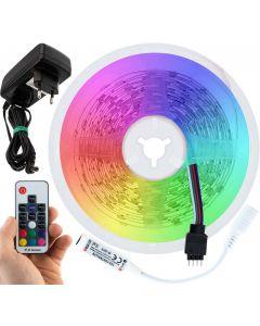 Taśma LED 36W SMD5050 RGB IP20 5m + Sterownik z pilotem + Zasilacz gniazdkowy LUMILED