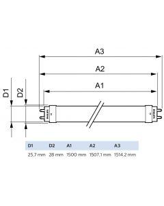 10x Świetlówka LED G13 T8 20W 2200lm 6500K Zimna 240°  1500mm PHILIPS CorePro