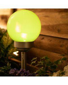 Lampa Ogrodowa LED Solarna Wbijana RGB 15cm Biało-srebrna + Pilot VOLTENO