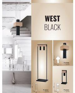 Lampa stojąca podłogowa WEST czarna 2x GU10 MILAGRO geometryczna metal + drewno