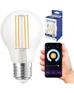 Żarówka LED E27 A60 5W = 52W 680lm CCT 220° Filament SPECTRUM Smart TUYA WiFi Ściemnialna