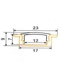 Profil aluminiowy KM39 wpuszczany B anodowany do taśm LED z Kloszem Mlecznym - 2m