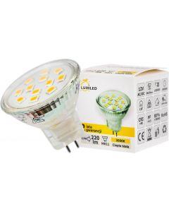 10PAK Żarówka LED GU5,3 MR11 2,5W = 25W 220lm 3000K Ciepła 120° 12V LUMILED