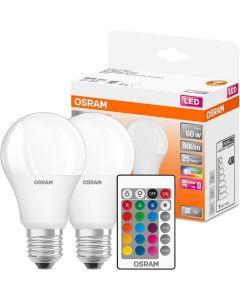 2x Żarówka LED A60 E27 9W = 60W 806lm OSRAM STAR RGBW + PILOT