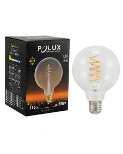 Żarówka FILAMENT LED G95 E27 4W = 21W 210lm POLUX B. Ciepła 2200K 360°