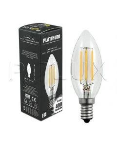 Żarówka LED E14 B35 4W = 40W 400lm 3000K Ciepła 360° Filament POLUX