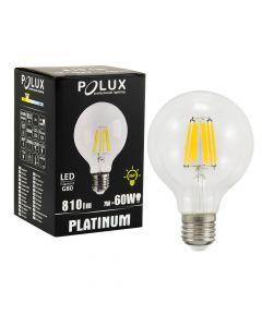Żarówka LED E27 G80 7W = 60W 810lm 3000K Ciepła 360° Filament POLUX
