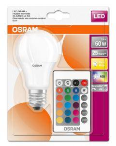 Żarówka LED A60 E27 9W = 60W 806lm OSRAM RGBW + PILOT