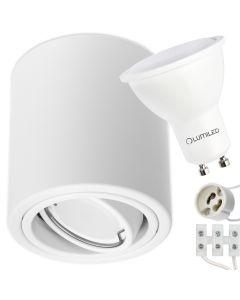 Oprawa Natynkowa HALOGENOWA Metalowa Biała SPOT TUBA 10cm + Żarówka LED GU10 Lumiled