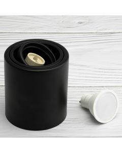 Oprawa Natynkowa HALOGENOWA Metalowa Czarna SPOT TUBA 10cm + Żarówka LED GU10 Lumiled