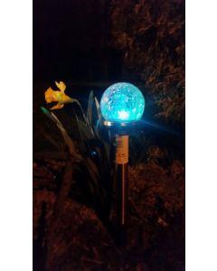 Lampa Ogrodowa LED Solarna Wbijana KULA SZKŁO Inox 8 cm Polux