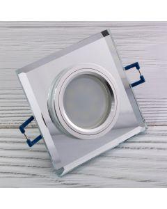 Zestaw 6x Oprawa Halogenowa SZKLANA Kwadratowa + Żarówka LED GU10 Lumiled