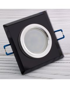 Zestaw 6x Oprawa Halogenowa SZKLANA Czarna Kwadratowa + Żarówka LED GU10 Lumiled