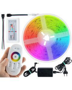 Zestaw Taśma LED RGB 72W 300LED SMD5050 IP20 5m + Sterownik z Pilotem + Zasilacz + złączka
