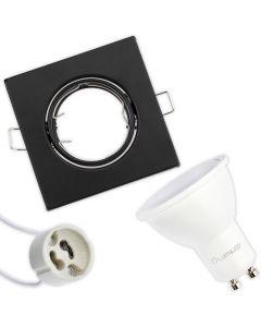 Zestaw Oprawa HALOGENOWA Ruchoma Kwadrat Czarna Polux + LED GU10 6W Neutralna