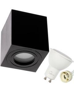Oprawa do nabudowania GU10 AQUARIUS SQUARE wodoodporna Czarna + LED 6W Zimna