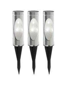Zestaw 3x Lampa Ogrodowa SOLARNA TOGO 35 RGB INOX