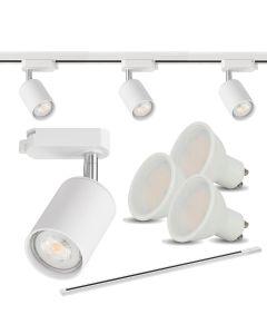 Zestaw 3x Reflektor szynowy biały + 3x LED GU10 6000K + szyna 150cm