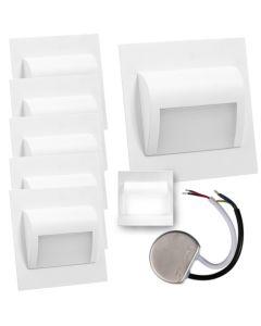 Zestaw 6x Oprawa schodowa LED 1,2W Neutralna Biała Decorus + Zasilacz 10W 12V