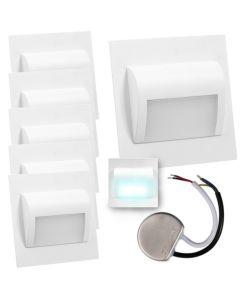 Zestaw 6x Oprawa schodowa LED 1,2W Zimna Biała Decorus + Zasilacz 10W 12V