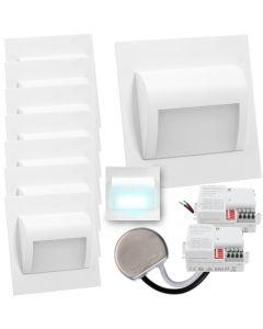 Zestaw 8x Oprawa schodowa LED 1,2W Zimna Biała Decorus + Zasilacz 15W + 2x Czujnik ruchu
