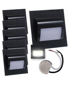 Zestaw 6x Oprawa schodowa LED 1,2W Neutralna Czarna Decorus + Zasilacz 10W 12V