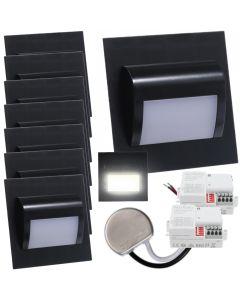 Zestaw 8x Oprawa schodowa LED 1,2W Neutralna Czarna Decorus + Zasilacz 15W + 2x Czujnik ruchu