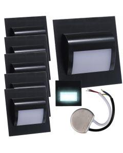 Zestaw 6x Oprawa schodowa LED 1,2W Zimna Czarna Decorus + Zasilacz 10W 12V