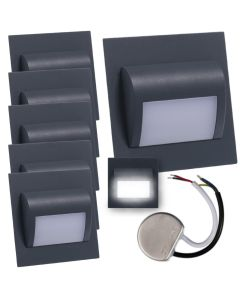 Zestaw 6x Oprawa schodowa LED 1,2W Neutralna Grafit Decorus + Zasilacz 10W 12V