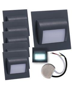 Zestaw 6x Oprawa schodowa LED 1,2W Zimna Grafit Decorus + Zasilacz 10W 12V