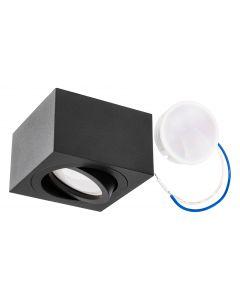 Oprawa Natynkowa HALOGENOWA Ruchoma AMAT-S Kwadratowa Czarna 50mm + Wkład LED 5W 6000K