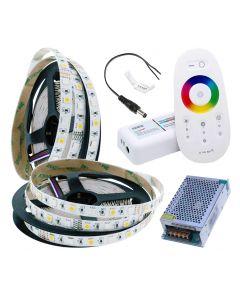 Zestaw Taśma LED 144W SMD 5050 300LED IP20 10m RGB+CW + sterownik RGBW z pilotem + Zasilacz