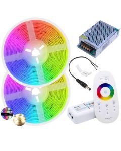 Zestaw Taśma LED 144W SMD 5050 300LED IP20 10m RGB+WW + sterownik RGBW z pilotem + Zasilacz