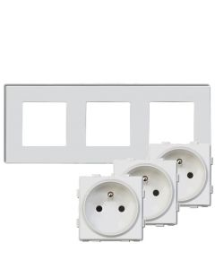 Zestaw 3x GNIAZDO 230V białe + RAMKA SZKLANA POTRÓJNA biała