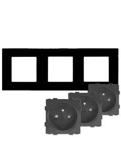 Zestaw 3x GNIAZDO 230V czarne + RAMKA SZKLANA POTRÓJNA czarna