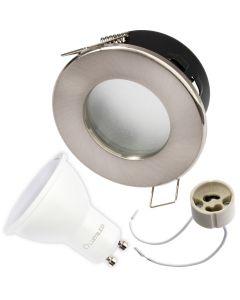 Zestaw Oprawa HALOGENOWA AQUS Satyna IP44 + LED GU10 3W Zimna Barwa - PODBITKA