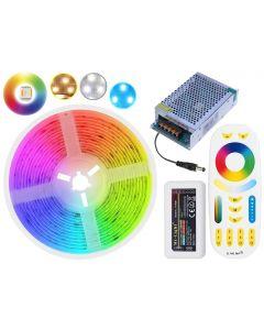 Zestaw Taśma LED 72W SMD 5050 300LED IP20 5m RGB+CCT + sterownik z pilotem + zasilacz + wtyk