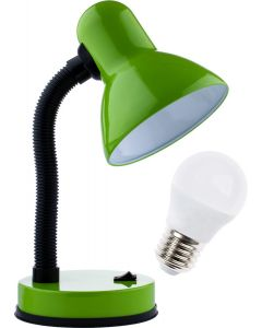 Lampka biurkowa szkolna E27 GAMA KM4010-ZN zielona + Żarówka LED 7W 3000K KM LUMILED