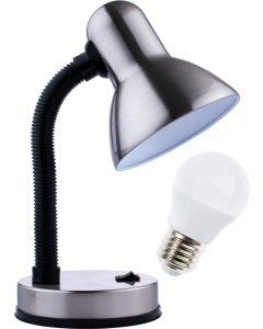 Lampka biurkowa szkolna E27 GAMA KM4010-MCH chrom mat + Żarówka LED 7W 4000K KM LUMILED