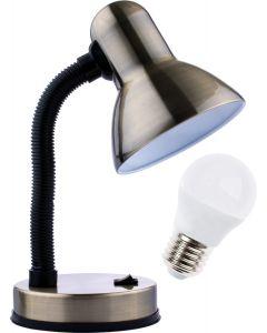 Lampka biurkowa szkolna E27 GAMA KM4010-PT patyna + Żarówka LED 7W 3000K KM LUMILED