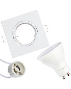 Zestaw Oprawa HALOGENOWA Ruchoma Kwadrat Biała Polux + LED GU10 6W Ciepła