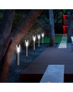 Zestaw 12x Lampa Ogrodowa LED Solarna Wbijana satyna inox PIN Polux