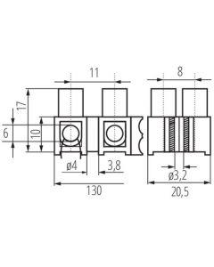 Złączka Przyłączeniowa Dwunastotorowa 6 mm H-6MM2 PE MI N Kanlux